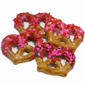 chocolate dipped heart sprinkled wedding favor pretzels